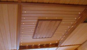 деревянная отделка потолка вагонка фото