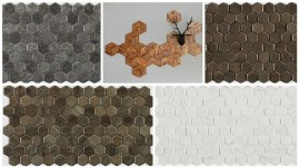 деревянная плитка пчелиные соты фото