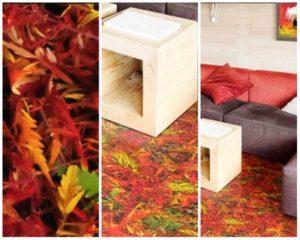 Пробковые полы с декором листвы фото