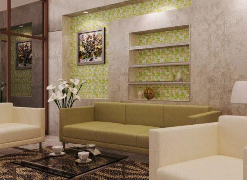 Ниши с мозаичной отделкой под цвет дивана