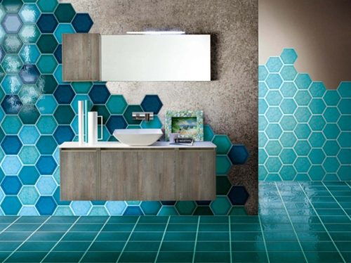 Дизайн стен с шестигранной плиткой