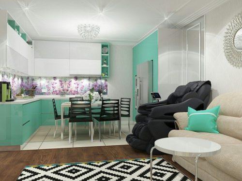 Кухня - гостиная 20 кв м