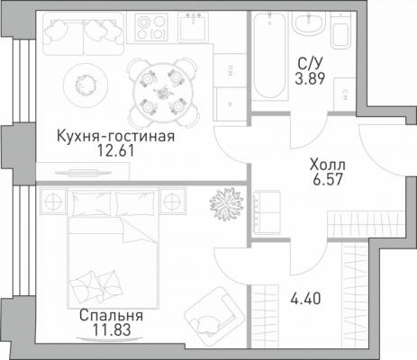Современная квартира с небольшой гостиной-кухней