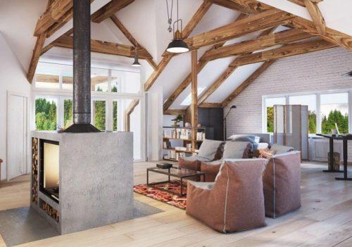 Декоративные балки на потолке, они же – несущие конструкции крыши