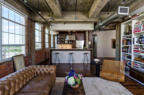 Индустриальный стиль в квартире с бетонными балками