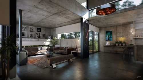 Апартаменты в стиле лофт, с фактурой бетона на стенах и потолке