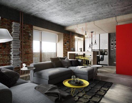 Ярко выраженная фактура бетона на потолке