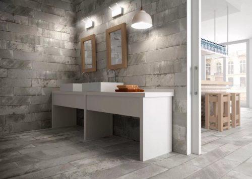 Отделка стен и пола по технологии печатного бетона под блочную кладку и с нанесением фактуры